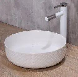 Elvera Counter Top Ceramic Designer Wash Basin, For Bathroom
