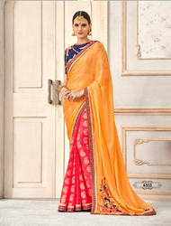 Yellow & Pink Chiffon Embroidered Party Wear Saree
