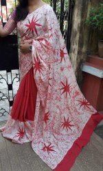 Red White Hand Printed Cotton Saree