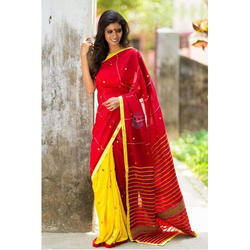 Red and Yellow Ethnic Designer Saree with Blouse Piece, Length: 5.5 m