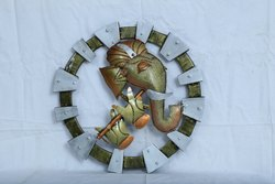 Pinnacle Multicolor Metal Ganesh With Flute Wall Hanging, For Decoration, Size: Medium