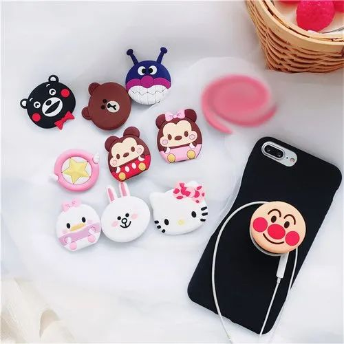 new product 12611 00349 Universal Mobile Phone Bracket Cute Hello Kitty Air Bag Finger Holder  Mickey Rabbit