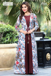PLAIN KURTI WITH PRINTED JACKET
