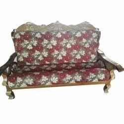 Teak Wood Velvet Living Room Wooden Sofa Set, For Home, Tight Back