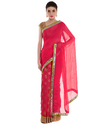 Hot Pink Chiffon Designer Saree