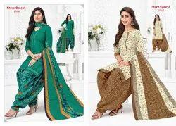 Cotton Shree Ganesh Panchi Patiyala Dress Material