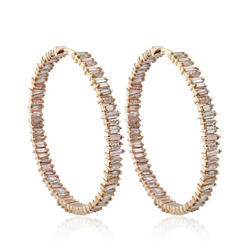 14k Yellow Gold Baguette Diamonds Hoop Earrings