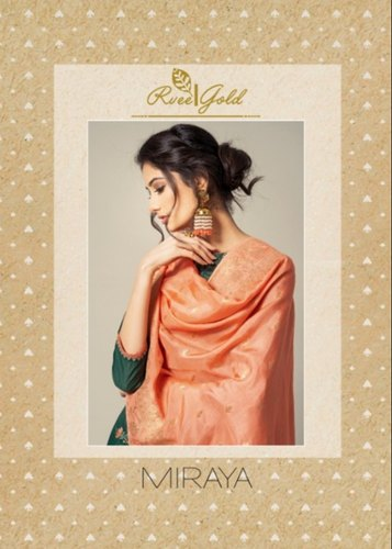 59dd26f6b8 Wedding Wear Cotton Rvee Gold By Miraya Pure Chanderi Salawar Suit ...
