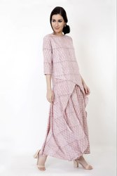 Cotton Printed Kurti with Skirt Two Piece Dress