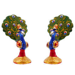 Metal Meenakari Peacock Pair Set