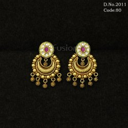 Traditional Kundan Antique Chand Bali Earring