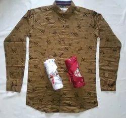 Printed Collar Neck Mens Casual Cotton Shirt