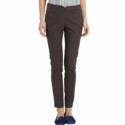 Brown Plain Ladies Corporate Trouser