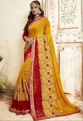 Mustard Yellow and Red Embroidered Partywear Saree
