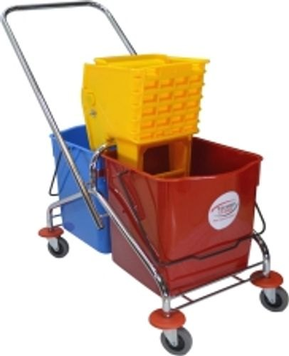 Italian Plastic 60L Double Bucket Wringer Trolley, for Hospitals