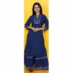Blue Sharara Cotton Kurti
