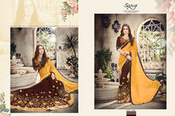 Yellow-Brown Designer Ladies Sarees