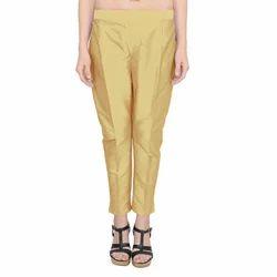 Taffeta Brown Ladies Casual Pant, Size: S, M & L