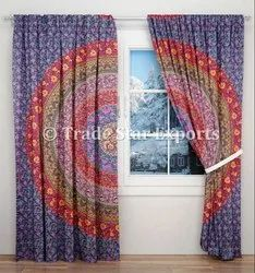 Printed Cotton Mandala Curtains Designer Door Window Valances