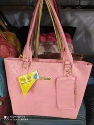 Leather Shoulder Ladies Pink Handbag, For Casual Wear