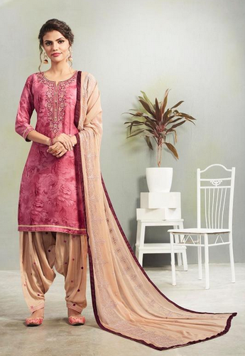 8e3fbe1a68 Multi Color Cotton Satin Print With Work With Cotton Inner Kajree Fashion  Saptrang By Patiala Readymade