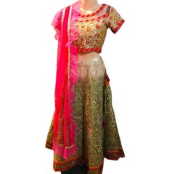 Stitched Ladies Party Wear Embroidered Silk Lehenga Choli, 2.50 M