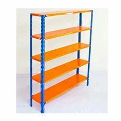 Steel Free Standing Unit 5 Shelves Slotted Angle Rack, For Supermarket