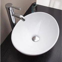 Wall Mounted Oval Ceramic Wash Basin, For Bathroom