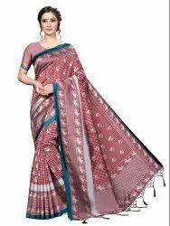 Banarasi Art Silk Party Wear Red Saree Blouse Piece