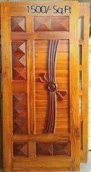 Polished Sagwan Wooden Door