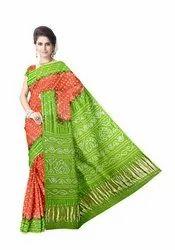 Orange And Parrot Green Color Gaji Silk Bandhani Saree