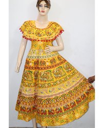 Ladies Designer Yellow Frock