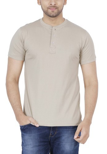 2e3323022be Cotton Cream Color Plain Men T- Shirt