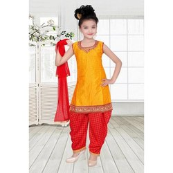 Yellow & Red Chiffon Kids Girl Party Wear Patiala Suit