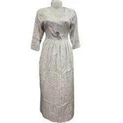 Casual Wear 3/4th Sleeve Fancy Printed Cotton Long Kurti, Wash Care: Machine wash