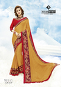 Indian Women Orange Two Tone Moss Chiffon Sarees