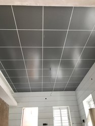 Kitchen Gray Acp Ceiling Work