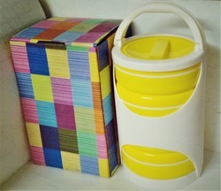 Plastic Yellow,White 4 In 1 Lunch Box, For Office, Capacity: 1.6 Litre