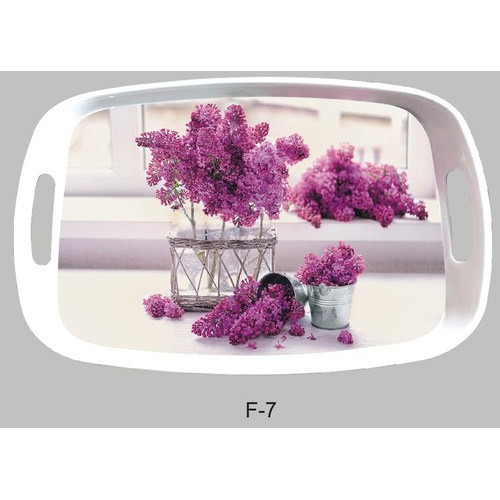 Tpi Multicolor Printed Melamine Franc Serving Tray With Handle Size