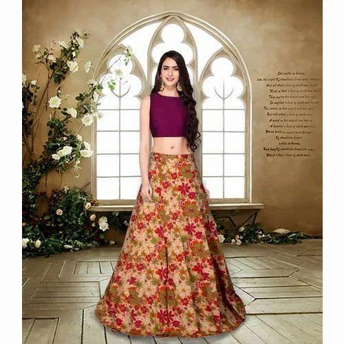 4331c9e6f Semi-Stitched Ladies Floral Print Crop Top Lehenga, Rs 680 /piece ...