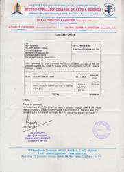 Order Copy of Bishop Appasamy College of Art & Science, Coimbatore for Sanitary Napkin Incinerator.