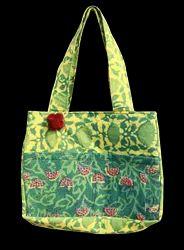 Green Cotton Designer Bag for ladies