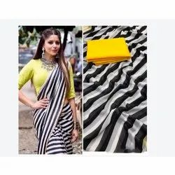 Party Wear Printed Ladies Striped Saree, With blouse piece, 5.5 m (separate blouse piece)