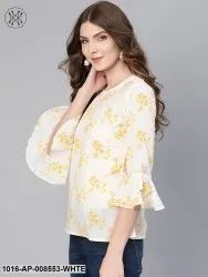 Cotton 3/4th Sleeve White & Yellow Floral Printed Top with Round Neck & Flared Sleeves