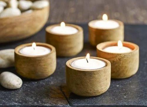 Set of 2 Tea Light Holders Wooden Round Tea light candle holder