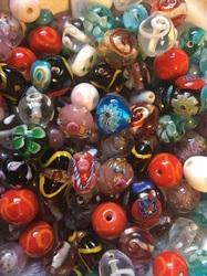 Multicolor Hand Decorated Lampwork Glass Beads