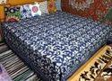 Indigo Blue Dabu Hand Block Bagru Printed Bed Sheet