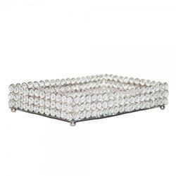 Clear Crystal Bead Square Tray Nickel Finish