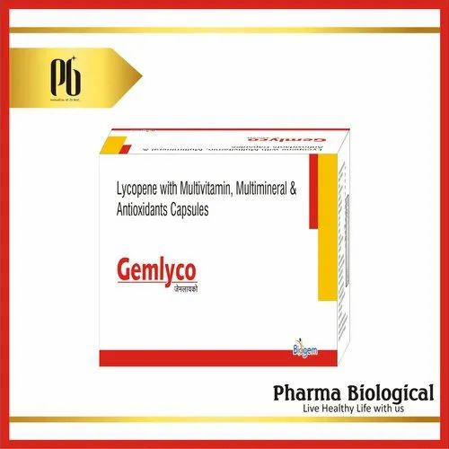 Gemlyco Lycopene with Multivitamin Multimineral and Antioxidants Capsules, Packaging Type: Box, Pharma Biological