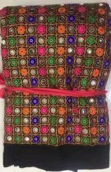 Georgette Mirror Work Fabric, For Suit